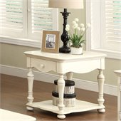 Riverside Furniture Placid Cove Rectangular End Table in Honeysuckle White