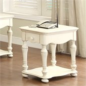 Riverside Furniture Placid Cove Chairside Table in Honeysuckle White