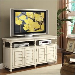 Riverside Furniture Placid Cove Louver TV Console in Honeysuckle White
