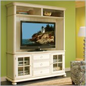 Riverside Furniture Placid Cove TV Console with Hutch Set in Honeysuckle White