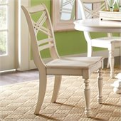 Riverside Furniture Placid Cove X-Back Side Chair in Honeysuckle White