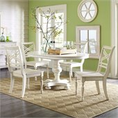 Riverside Furniture Placid Cove 5 Piece Round Dining Table Set in Honeysuckle White