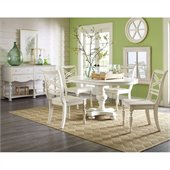 Riverside Furniture Placid Cove 6 Piece Round Dining Table Set in Honeysuckle White