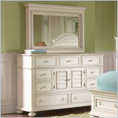 Riverside Furniture Placid Cove Media Dresser and Mirror Set in Honeysuckle White