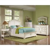 Riverside Furniture Placid Cove Arch Storage Bed 5 Piece Bedroom Set in Honeysuckle White