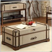 Riverside Furniture Bon Voyage Steamer Trunk Lif Top Cocktail Table in Aged Cognac Wood