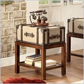 Riverside Furniture Bon Voyage Suitcase Chairside Table in Aged Cognac Wood