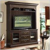 Riverside Furniture Binghamton TV Console with Hutch Set in Vintage Mocha
