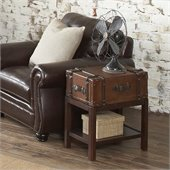 Riverside Furniture Latitudes Suitcase Chairside Table in Aged Cognac Wood