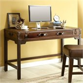 Riverside Furniture Latitudes Suitcase Writing Desk in Aged Cognac Wood