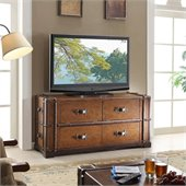 Riverside Furniture Latitudes Steamer Trunk TV Console in Aged Cognac Wood