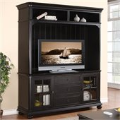 Riverside Furniture Beacon Point TV Console with Hutch Set in Pepper Black