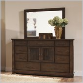 Riverside Furniture Windridge Dresser and Mirror Set in Burnished Ash