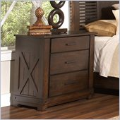 Riverside Furniture Windridge 3-Drawer Nightstand in Sagamore Burnished Ash