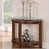 Riverside Furniture Inspiration Retro Demilune Chairside Table in Warm Brandy