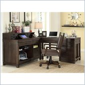 Riverside Furniture Promenade 5 Piece Computer Desk Set in Warm Cocoa