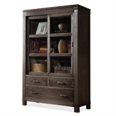 Riverside Furniture Promenade Sliding Door Bookcase in Warm Cocoa