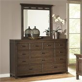 Riverside Furniture Promenade 10 Drawer Dresser and Mirror Set in Warm Cocoa