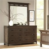 Riverside Furniture Promenade 6 Drawer Dresser and Mirror Set in Warm Cocoa