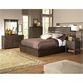 Riverside Furniture Promenade Slat Panel Bed 5 Piece Bedroom Set in Warm Cocoa