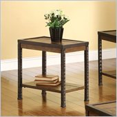 Riverside Furniture Timber Ridge Chairside Table in Homestead Distressed Oak