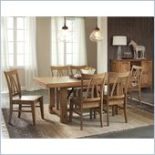 Riverside Furniture Summerhill 8 Piece Dining Table Set in Canby Rustic Pine
