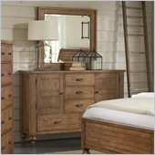 Riverside Furniture Summerhill Door Dresser and Mirror Set in Canby Rustic Pine