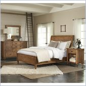 Riverside Furniture Summerhill Sleigh Bed 4 Piece Bedroom Set in Canby Rustic Pine