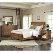 Riverside Furniture Summerhill Sleigh Storage Bed 4 Piece Bedroom Set in Canby Rustic Pine