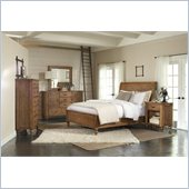 Riverside Furniture Summerhill Sleigh Storage Bed 5 Piece Bedroom Set in Canby Rustic Pine