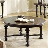 Riverside Furniture Williamsport Round Cocktail Table in Nutmeg/Kettle Black