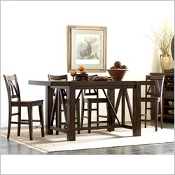 Riverside Castlewood 5 Piece Gathering Height Table Set in Warm Tobacco