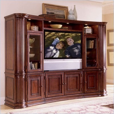 Riverside Furniture Ambiance 48 Inch Pier Cabinet Entertainment Center in Sangria Cherry