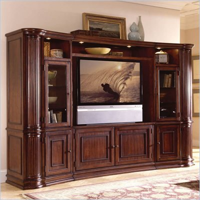 Riverside Furniture Ambiance 60 Inch Pier Cabinet Entertainment Center in Sangria Cherry