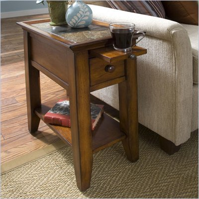 Riverside Andorra Chairside Table in Eden Burnished Cherry