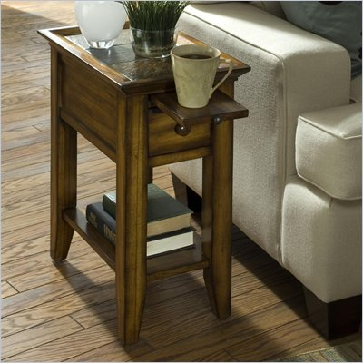 Riverside Andorra Chairside Table in Burnished Oak