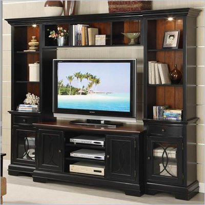 Riverside Furniture Anelli II Entertainment System in Vintage Cherry and Bridgewood Black