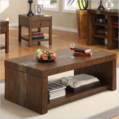 Riverside Furniture Belize Rectangular Cocktail Table in Old World Distressed Pine