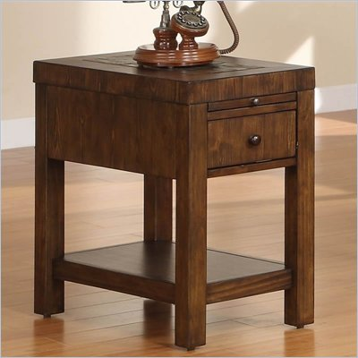 Riverside Furniture Belize Chairside Table in Old World Distressed Pine