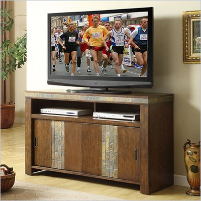 Riverside Furniture Belize TV Console in Old World Distressed Pine