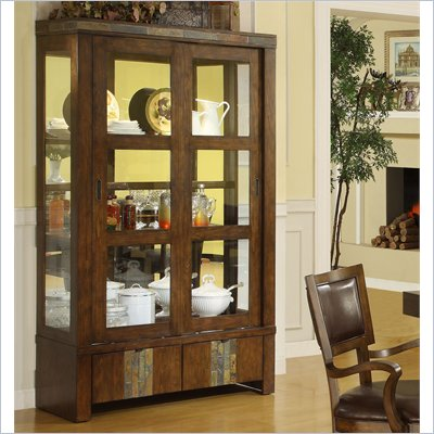 Riverside Furniture Belize China Cabinet in Old Word Distressed Pine