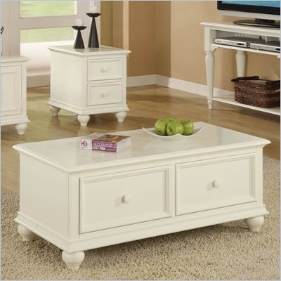 Riverside Cliffside Rectangular Drawer Cocktail Table in Shores White