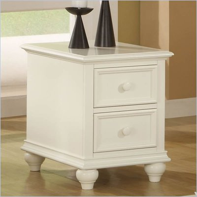Riverside Cliffside Rectangular Drawer End Table in Shores White