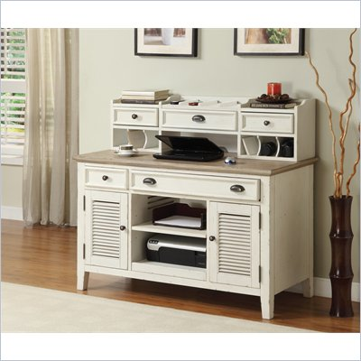 Riverside Furniture Coventry Two Tone Credenza &amp; Hutch in Dover White