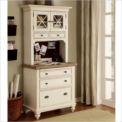 Riverside Furniture Coventry Two Tone Workstation in Dover White
