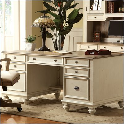 Riverside Furniture Coventry Two Tone Executive Desk in Dover White