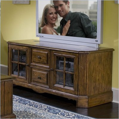 Riverside Furniture Delcastle 63 Inch TV Stand in Antique Irish Pine