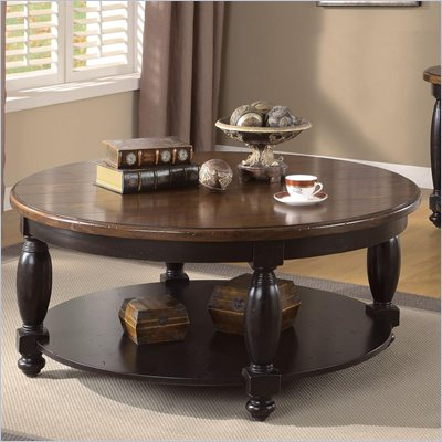 Riverside Delcastle Round Cocktail Table in Aged Black