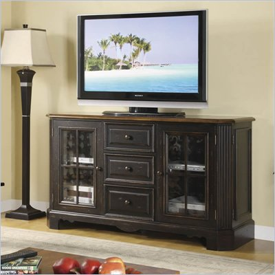 Riverside Furniture Delcastle 60 Inch High Waist TV Stand in Aged Black and Antique Irish Pine