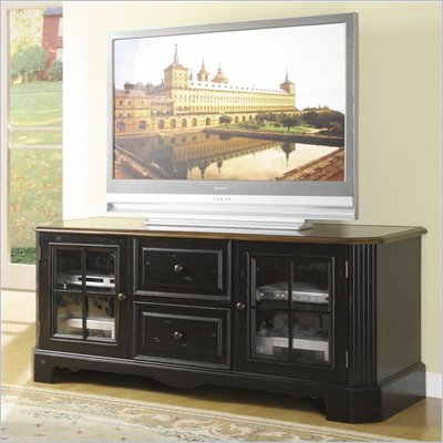Riverside Furniture Delcastle 63 Inch TV Stand in Aged Black and Antique Irish Pine